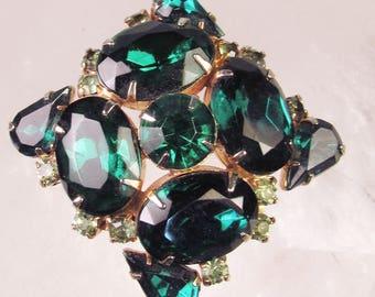 Goldtone and Glass Emerald and Peridot Rhinestone Brooch