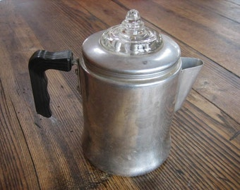 Vintage Aluminum Glass Top Small 2-4 Cup Stovetop Percolator Clean Complete