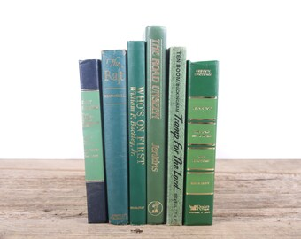 Vintage Green Books / Old Books Vintage Books / Decorative Books / Antique Books / Mixed Book Set / Books by Color / Books for Decor