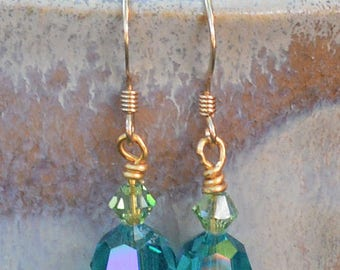 Swarovski Blue Zircon & Peridot Crystal Earrings