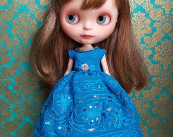 Blue Embroidered Georgette Blythe Dress and Crinoline Set | Pullip Dress
