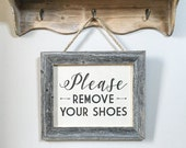 """12.5x10.5"""" Please Remove Your Shoes Sign - No Shoes Allowed - Rope Hanging Entryway Sign - Barnwood & Cotton Canvas - Reclaimed Wood"""
