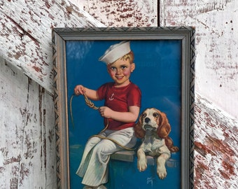 Sailor boy with spaniel dog by Roy Best 1940's print in gray frame Americana vintage artwork 8 x 6