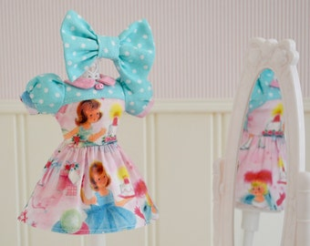 Blythe Dress Vintage Girly Birthday Dress and Bow Set for Blythe by Sweet Petite Shoppe