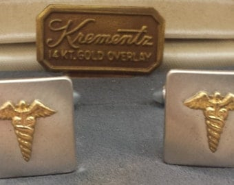 Vintage Doctors Caduceus Cufflinks by Krementz 14Kt Gold Overlay in Original Box