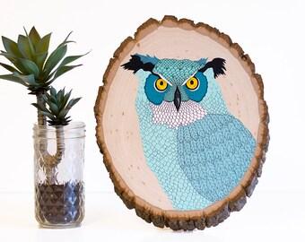 Owl wood sign, owl nursery sign, owl painting on wood, owl nursery decor, colorful owl art, great horned owl, abstract owl, owl wall art
