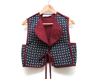 Quilted Tie-Front Cropped Quilted Folk Vest Reversible Sz. M Maroon Navy Printed 90s 80s Layering Layers Boho Hippy Handmade Small Designer