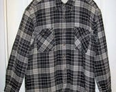 Vintage Men's Black & White Plaid Fleece Sherpa Lined Flannel Shirt Jacket by Cambridge Large Only 14 USD