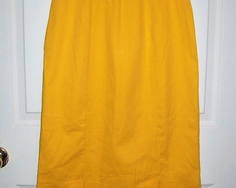 Vintage 80s Ladies Yellow Cotton Skirt by Weekend Edition Small Only 6 USD