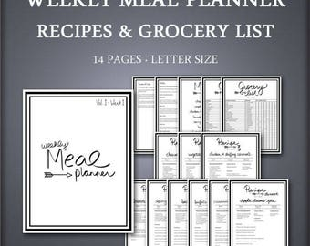 Printable Weekly Meal Planner Set - Weekly Meal Planner Set - Recipes & Grocery List Included - Printable Meal Planning