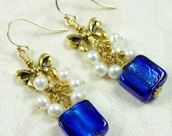 Blue Dangle Earrings White Freshwater Cultured Pearl Glass Bead Gold Filled Winter Holiday Christmas Party Gift Artisan Handmade Jewelry