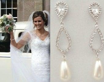Pearl earrings, Sterling silver posts, Crystal teardrops, Swarovski pearl earrings, Brides earrings, Wedding earrings, Pearl drop earrings