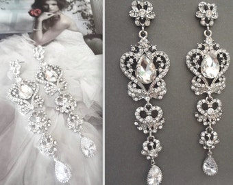 "Long rhinestone earrings ~ 4"" long ~ Statement earrings ~ Crystal chandelier earrings ~ Teardrop ~ Vintage style ~ Brides earrings ~ SARAH"