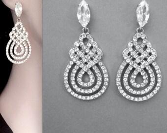 Brides earrings ~ Large Crystal, rhinestone, statement earrings ~ Crystal earrings ~ Swirl design ~ Bridal jewelry ~ Wedding earrings