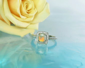 Opal Silver Ring, Opal Sterling Ring, Opal Ring, Opal Halo Ring, Natural Opal Ring, Gemstone Ring, October Birthstone, Birthstone Ring,