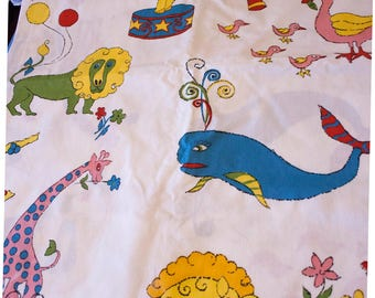 Mid Century Circus Theme Fabric, 3 Yards Childrens Playroom Decor