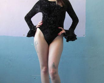 Vtg 90s Crushed Velvet Bodysuit / Witchy Goth