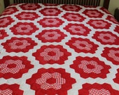 Handmade vintage red and white Grandmothers Flower Garden quilt