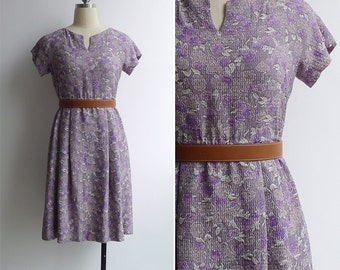 Vintage 60's Watercolor Florals Lilac Abstract Print Dress XS or S