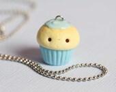 SILVER Kawaii Blue Cupcake Charm- Miniature Food Jewelry- Necklace, Planner Charm