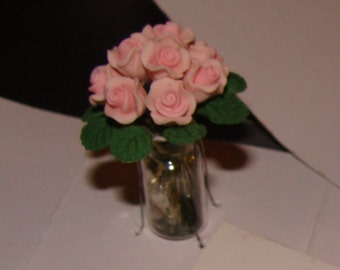 Pink Roses,Dollhouse Bouquet in Glass Vase,  1.5  Inches Tall