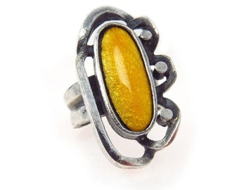 Sunny Yellow Enamel Modernist Silver Ring   Adjustable Size   800 Silver   Vintage Modernist 800 Silver Statement Ring   Vintage   Modernist