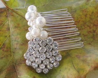 Bridal Hair Comb, Sparkling Rhinestone Swarovski Crystal and Pearl Hair Comb,  Special Occasion Silver and Pearl Hair Comb, Hair Jewelry