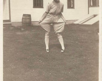"Vintage Snapshot ""Showing Off"" Undies Spit Curls Rolled Stockings Found Vernacular Photo"