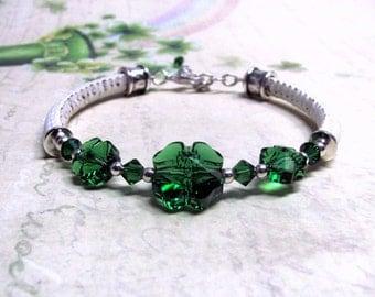 Green Clover Bracelet, Swarovski Crystals, Leather Bracelet, St. Patrick's Day Bracelet, Irish Bracelet, Clover Bracelet, Clover Jewelry