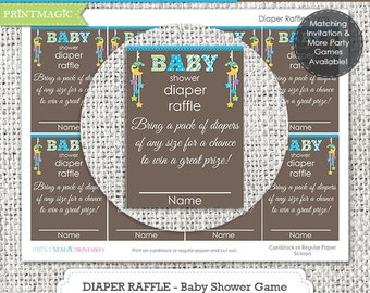 Boy Moon & Stars Diaper Raffle Baby Shower Game - Instant Download - Diaper Raffle Game - Baby Shower Diaper Raffle - Baby Shower Activity