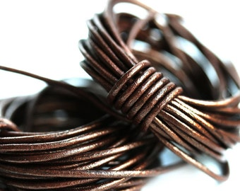 1.5mm Round Natural Leather cord - Metallic Bronze leather cord - 10 feet, LC093