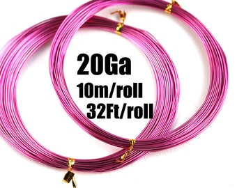 20 Gauge wire, 0.8mm thick Bright Pink Aluminum Craft Wire, 10m roll, 32Ft, colored wire for jewelry making - LC107