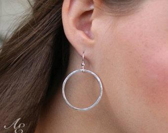Large Sterling Silver Hoop Earrings - Classic Hoop Earrings - Everyday Earrings - Eco-friendly jewelry