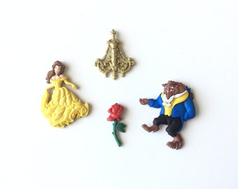 Beauty and the Beast Magnets, Refrigerator Magnets, Kitchen Decor, Fridge Magnets, Princess Belle