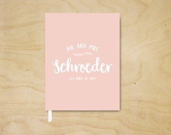 Blush Guest Book, Simple Mr and Mrs Guest Book,  Personalized Guest Book for Weddings, Wedding Guestbook, Hardcover Guest Book, Couples Gift