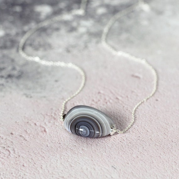 Agate Stone Necklace - Natural Stone Pendant