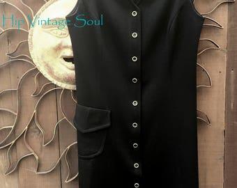 Vintage 1970's Graff CaliforniaWear Black Vest Dress, 70's Polyester Vest Dress, Mod, Career Mod