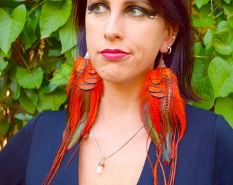AUTUMN FOREST Long Feather Earrings SALE