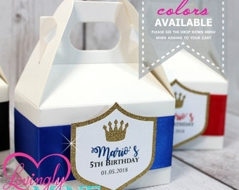 Mini Gable Favor Boxes - Set of 10 - Royal Blue, Glitter Gold and White - Baby Shower, Royal Birthday Party Favor Candy Loot Bags