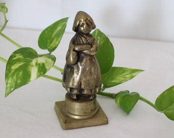 Brass Girl Figuring- Welsh Figurine - Dutch Girl - Small Brass Figurine - Brass Knick Knack