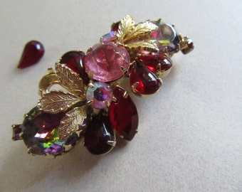 Mid Century Red Pink Heliotrope Rhinestone Pin Brooch Needs Repair Stone Included Vintage Costume Jewelry MoonlightMartini