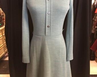 Retro heather mint green knit xsmall day dress