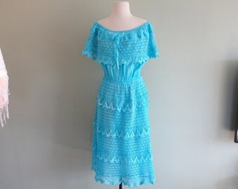 Vintage Day of the Dead Light Airy Turquoise Gauze Crocheted 100% Cotton Folk Art Mexican Fiesta Billowy  Off Shoulder Salsa Dress Peasant