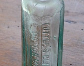 "Antique Ca 1920 TUTTLE'S ELIXIR Co. BOSTON Mass., Embossed on 2 Sides, 12 Sided Aqua Cork Top Medicine Bottle, 6 1/8"" Tall"