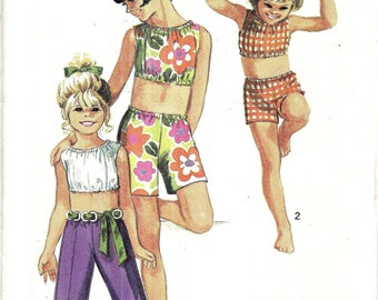 Vintage 1970s Girls Midriff Top, Pants, and Shorts Pattern, Summer Top Pattern, Bermuda Shorts, Summer Play Suit Pattern, Size 4, Breast 23