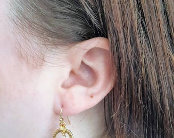 Gold Rings and Crystals Earrings