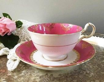 Pink Tea Cup and Saucer by Royal Grafton England / Dark Pink Bone China