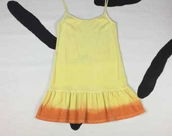 90s Juicy Couture Terrycloth Yellow and Orange Dip Dye Drop Waist Spaghetti Strap Tank Dress / Paris Hilton / Made In USA / Size Small / y2k