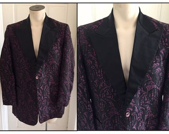 Vintage 1960s Men's Brocade Tuxedo Jacket Black Fuchsia 42