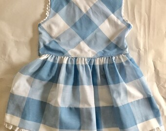 Vintage 1960s Girls' Blue and White Check Sleeveless Dress 6 6X 7